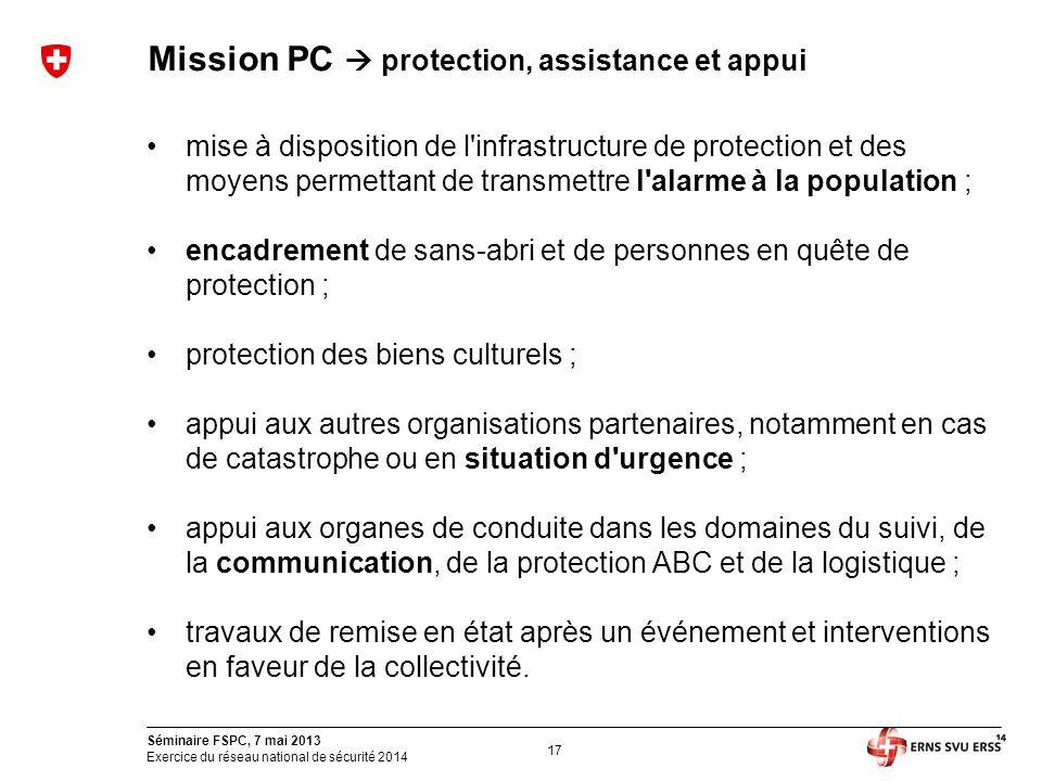17 Séminaire FSPC, 7 mai 2013 Exercice du réseau national de sécurité 2014 Mission PC  protection, assistance et appui mise à disposition de l'infras