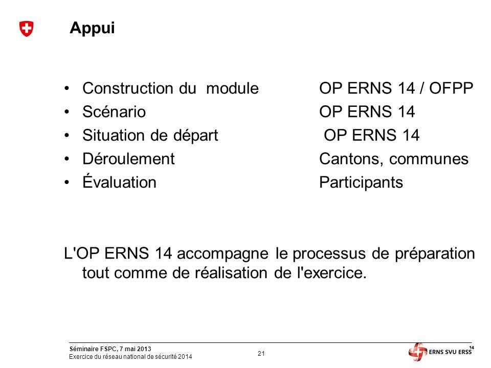 21 Séminaire FSPC, 7 mai 2013 Exercice du réseau national de sécurité 2014 Appui Construction du moduleOP ERNS 14 / OFPP ScénarioOP ERNS 14 Situation