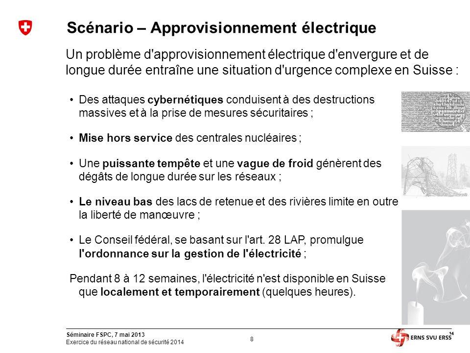 8 Séminaire FSPC, 7 mai 2013 Exercice du réseau national de sécurité 2014 Scénario – Approvisionnement électrique Un problème d'approvisionnement élec