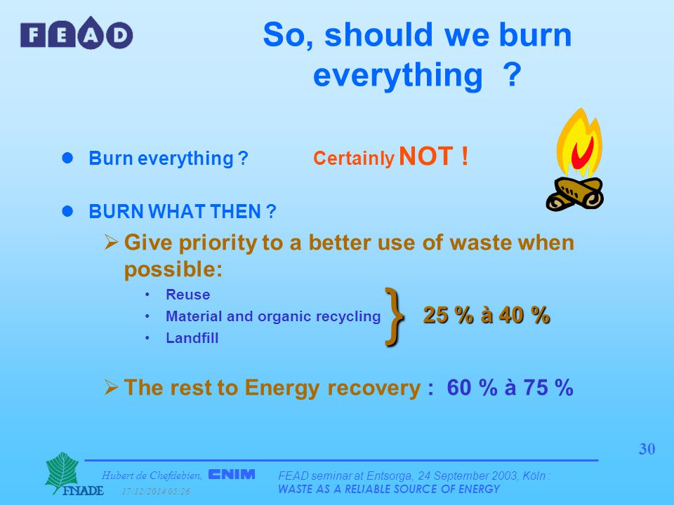 Hubert de Chefdebien, 17/12/2014 05:28 FEAD seminar at Entsorga, 24 September 2003, Köln : WASTE AS A RELIABLE SOURCE OF ENERGY 30 So, should we burn everything .