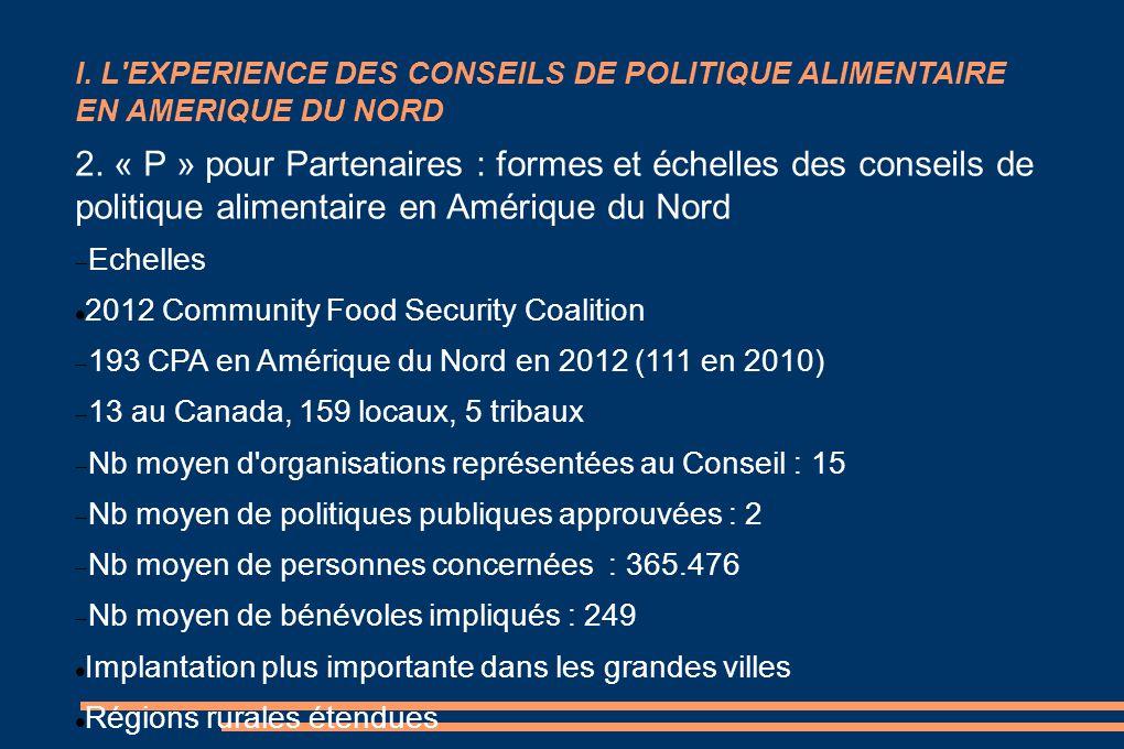 I. L EXPERIENCE DES CONSEILS DE POLITIQUE ALIMENTAIRE EN AMERIQUE DU NORD 2.
