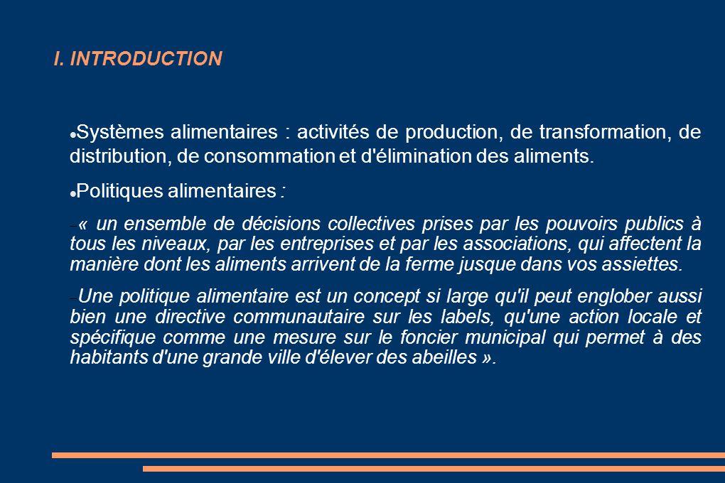 I. INTRODUCTION Systèmes alimentaires : activités de production, de transformation, de distribution, de consommation et d'élimination des aliments. Po
