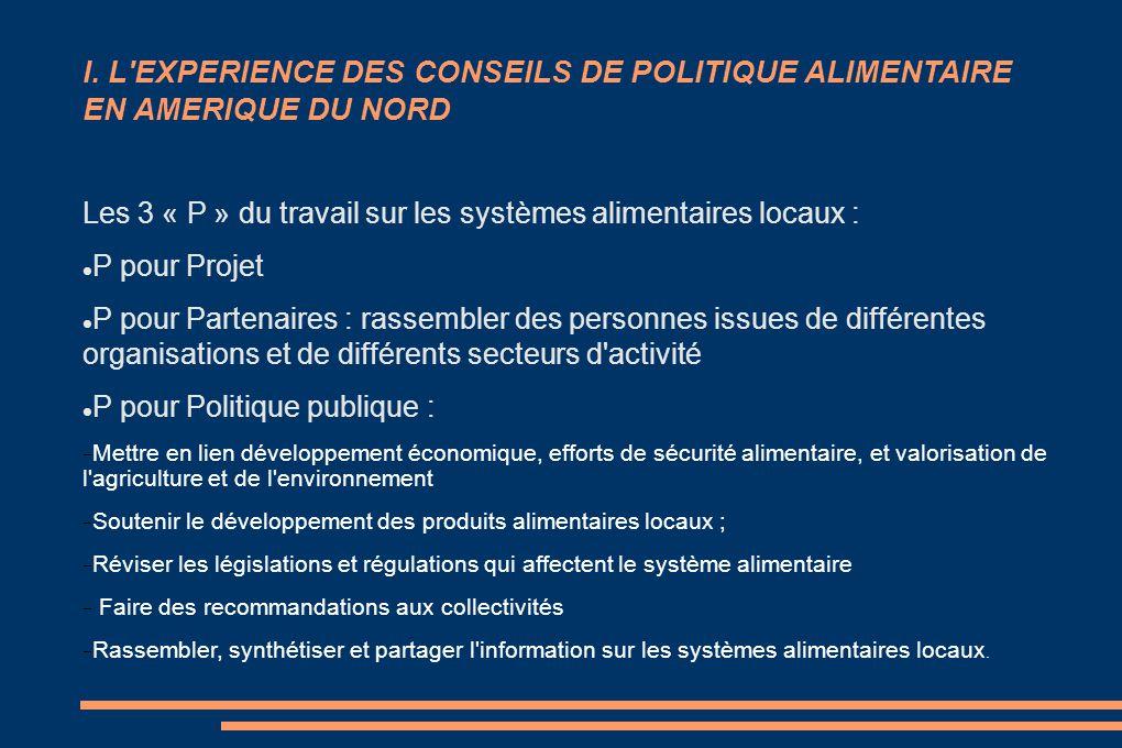 I. L'EXPERIENCE DES CONSEILS DE POLITIQUE ALIMENTAIRE EN AMERIQUE DU NORD Les 3 « P » du travail sur les systèmes alimentaires locaux : P pour Projet
