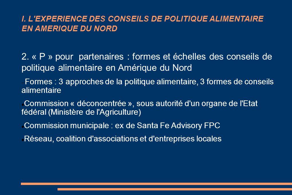 I. L'EXPERIENCE DES CONSEILS DE POLITIQUE ALIMENTAIRE EN AMERIQUE DU NORD 2. « P » pour partenaires : formes et échelles des conseils de politique ali