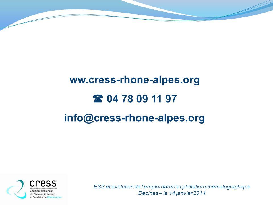 ww.cress-rhone-alpes.org  04 78 09 11 97 info@cress-rhone-alpes.org ESS et évolution de l'emploi dans l'exploitation cinématographique Décines – le 1
