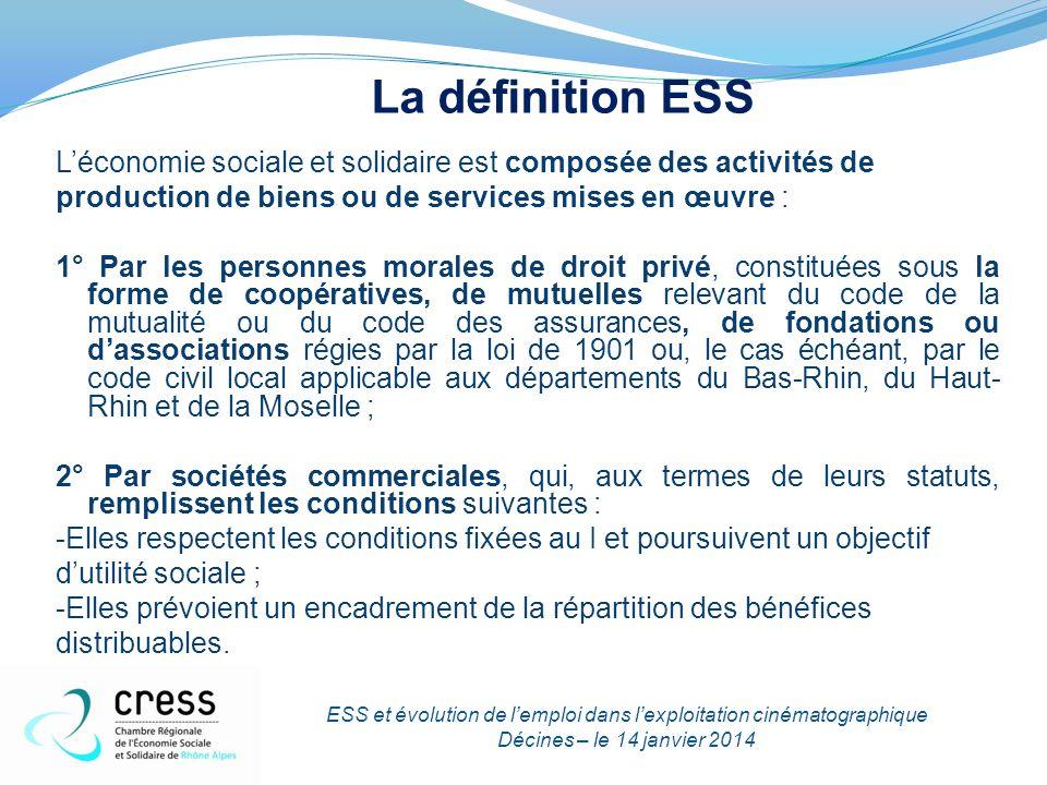 Les chiffres de l'ESS en France  2,3 millions de personnes salariées  9,9 % de l'emploi français  215 000 établissements employeurs  53,1 milliards d'euros de rémunération brutes  Plus de 100 000 emplois créés chaque année entre 2005 et 2010  Avec 335 000 salariés de plus de 55 ans, c'est plus d'1 salarié sur 7 qui devrait prendre sa retraite d'ici à 2018 dans l'économie sociale et solidaire.