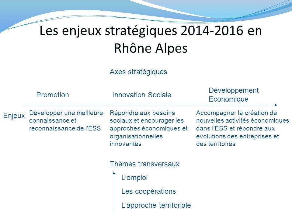 Les enjeux stratégiques 2014-2016 en Rhône Alpes PromotionInnovation Sociale Développement Economique Enjeux Développer une meilleure connaissance et