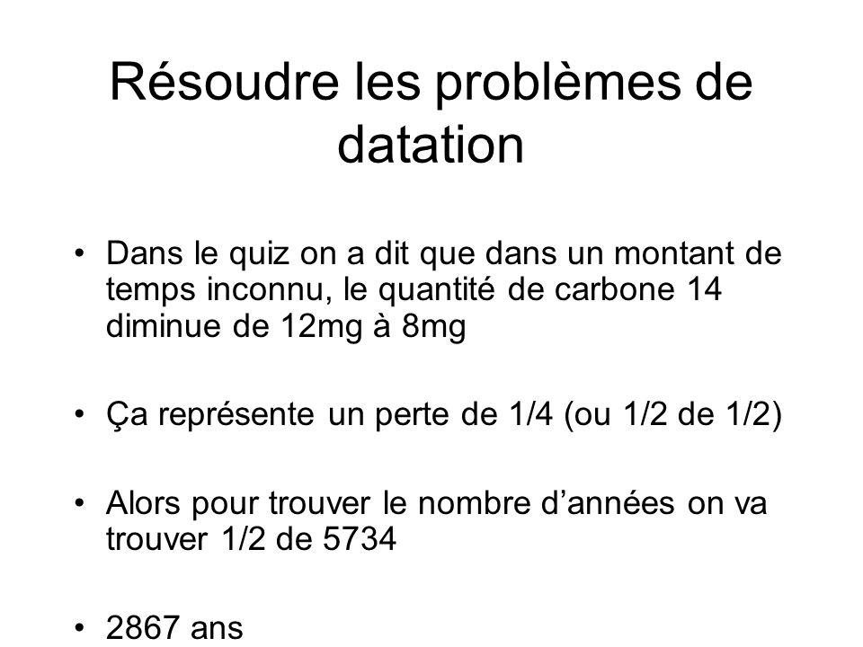 Résoudre les problèmes de datation Dans le quiz on a dit que dans un montant de temps inconnu, le quantité de carbone 14 diminue de 12mg à 8mg Ça repr