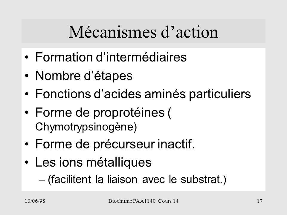 10/06/9817Biochimie PAA1140 Cours 14 Mécanismes d'action Formation d'intermédiaires Nombre d'étapes Fonctions d'acides aminés particuliers Forme de pr