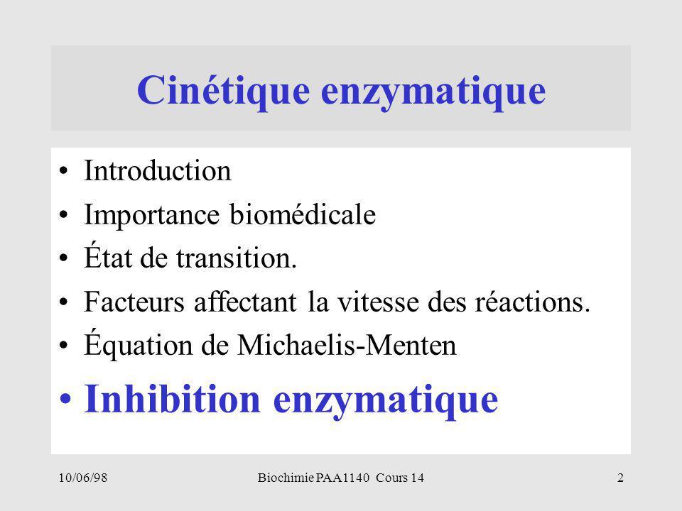 10/06/982Biochimie PAA1140 Cours 14 Cinétique enzymatique Introduction Importance biomédicale État de transition. Facteurs affectant la vitesse des ré