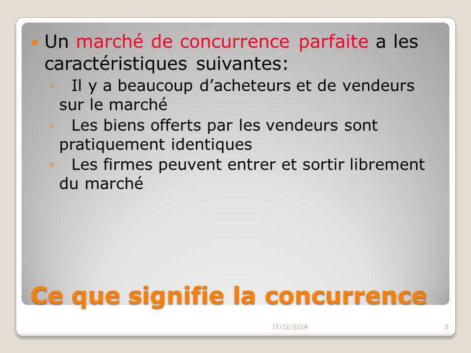 LA CONCURRENCE PARFAITE LA CONCURRENCE PARFAITE 17/12/20141