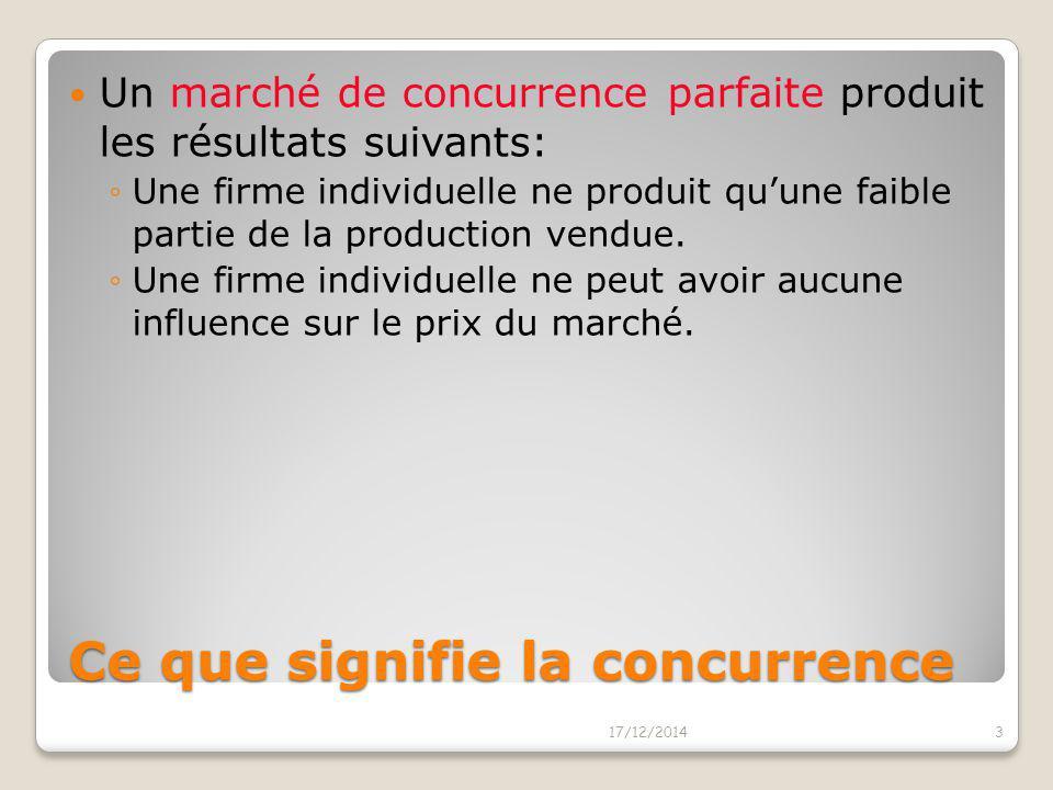 Ce que signifie la concurrence Un marché de concurrence parfaite a les caractéristiques suivantes: ◦Il y a beaucoup d'acheteurs et de vendeurs sur le
