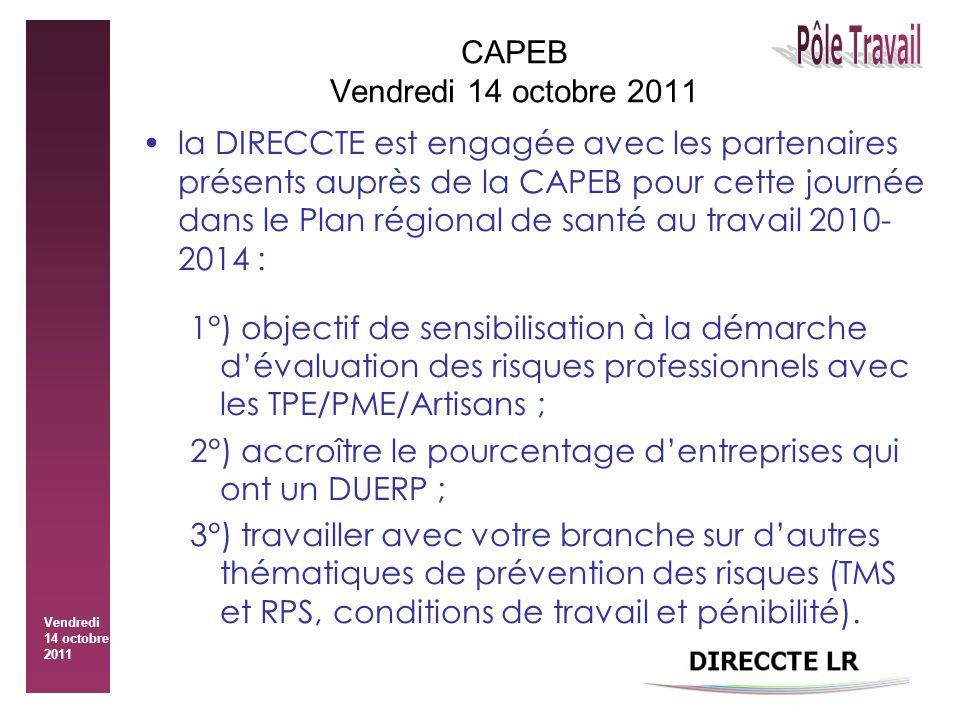 Vendredi 14 octobre 2011 CAPEB Vendredi 14 octobre 2011 la DIRECCTE est engagée avec les partenaires présents auprès de la CAPEB pour cette journée dans le Plan régional de santé au travail 2010- 2014 : 1°) objectif de sensibilisation à la démarche d'évaluation des risques professionnels avec les TPE/PME/Artisans ; 2°) accroître le pourcentage d'entreprises qui ont un DUERP ; 3°) travailler avec votre branche sur d'autres thématiques de prévention des risques (TMS et RPS, conditions de travail et pénibilité).