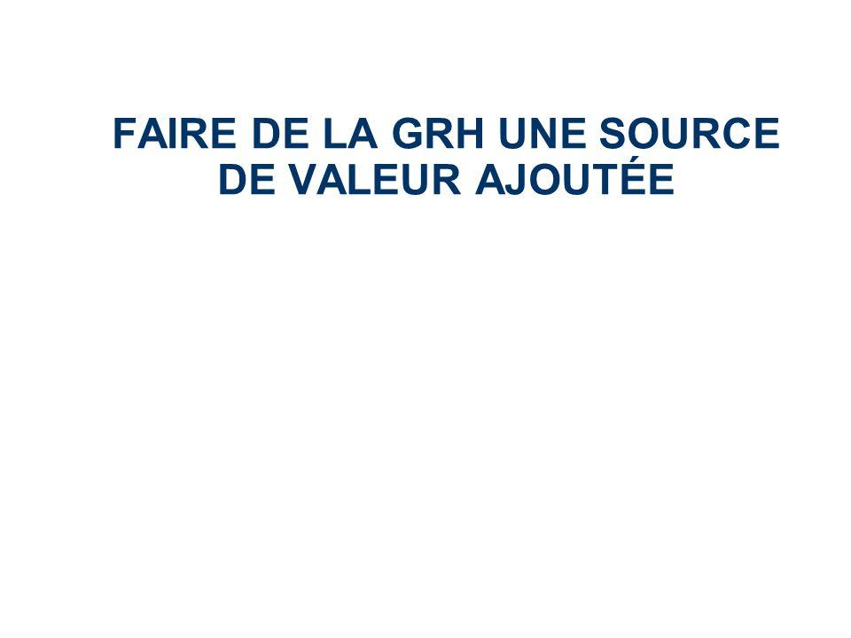 FAIRE DE LA GRH UNE SOURCE DE VALEUR AJOUTÉE