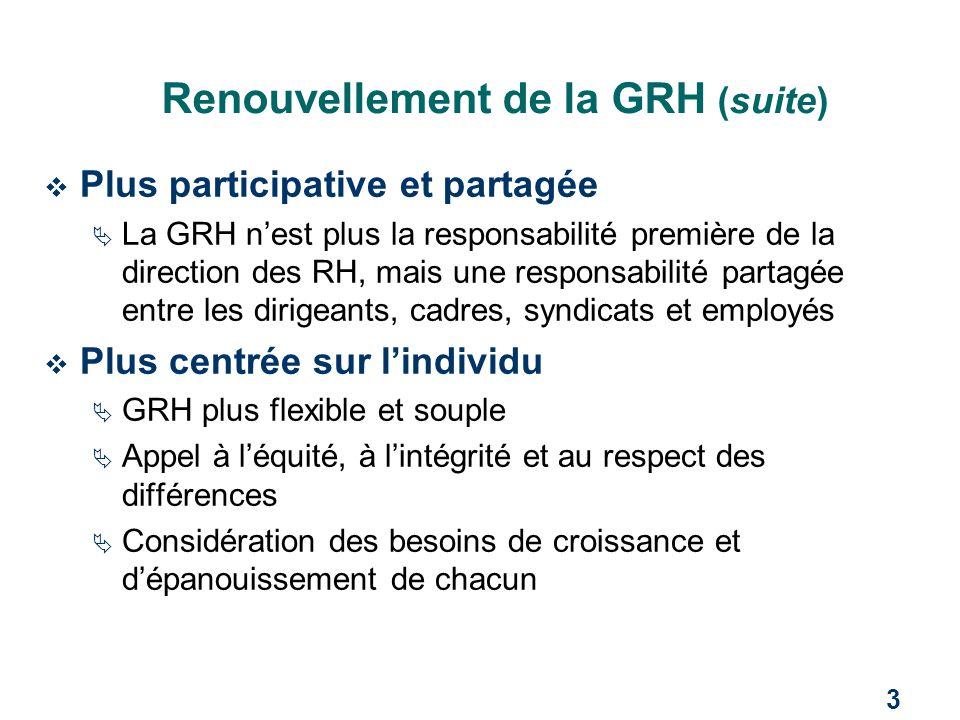 3 Renouvellement de la GRH (suite)  Plus participative et partagée  La GRH n'est plus la responsabilité première de la direction des RH, mais une re