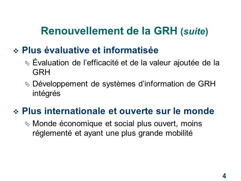 4 Renouvellement de la GRH (suite)  Plus évaluative et informatisée  Évaluation de l'efficacité et de la valeur ajoutée de la GRH  Développement de