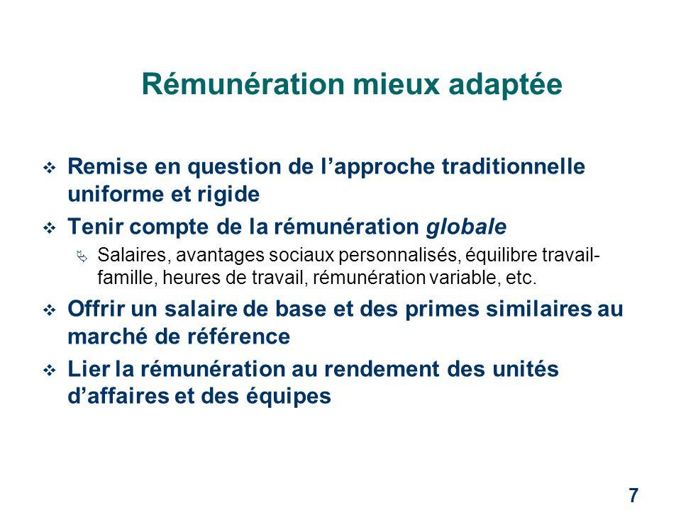 7 Rémunération mieux adaptée  Remise en question de l'approche traditionnelle uniforme et rigide  Tenir compte de la rémunération globale  Salaires