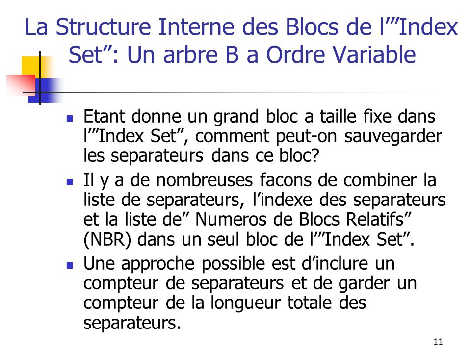 "11 La Structure Interne des Blocs de l'""Index Set"": Un arbre B a Ordre Variable Etant donne un grand bloc a taille fixe dans l'""Index Set"", comment pe"