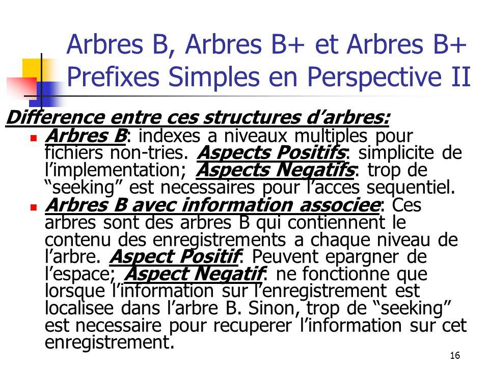 16 Arbres B, Arbres B+ et Arbres B+ Prefixes Simples en Perspective II Difference entre ces structures d'arbres: Arbres B: indexes a niveaux multiples pour fichiers non-tries.