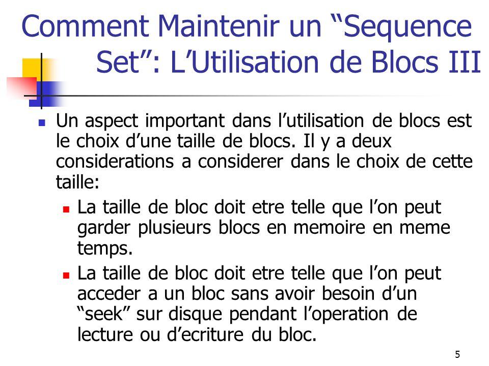 5 Comment Maintenir un Sequence Set : L'Utilisation de Blocs III Un aspect important dans l'utilisation de blocs est le choix d'une taille de blocs.