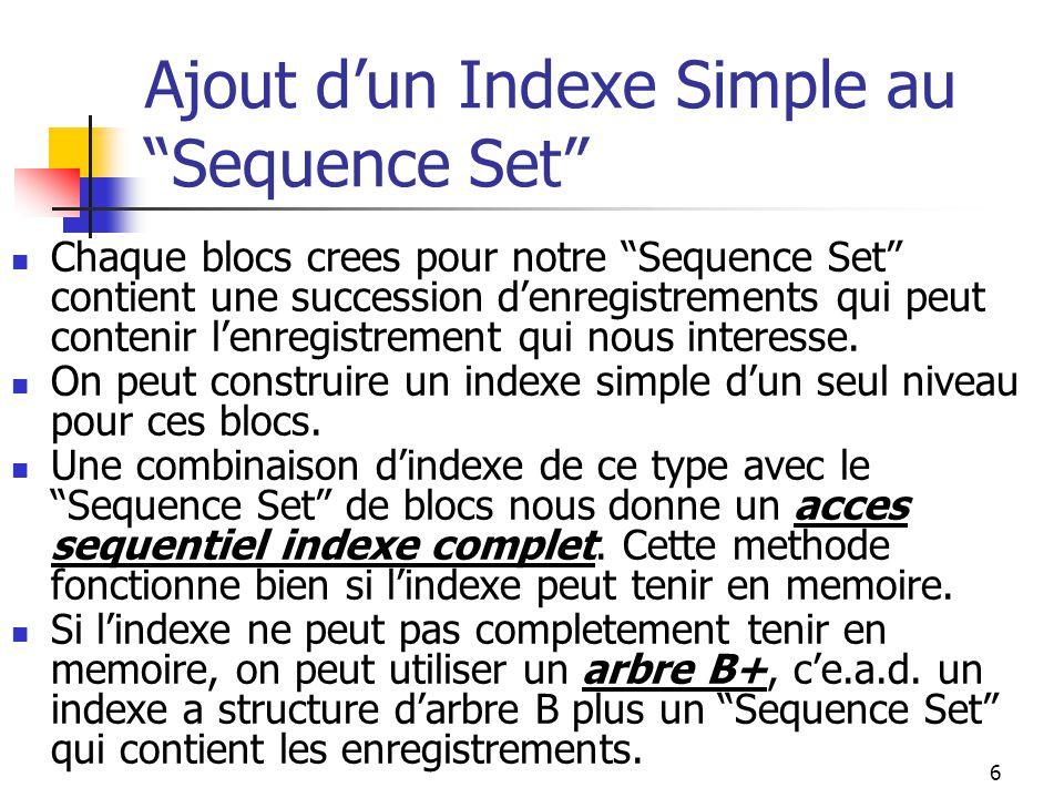 17 Arbres B, Arbres B+ et Arbres B+ Prefixes Simples en Perspective III Difference entre ces structures d'arbres: Arbres B+: Dans un arbre B+, toutes les informations sur la cle et l'enregistrement est contenue dans un ensemble de blocs chaines appele le Sequence Set .