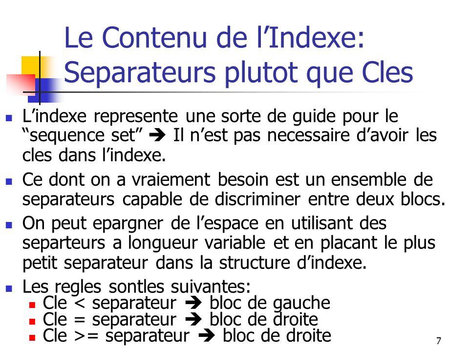 7 Le Contenu de l'Indexe: Separateurs plutot que Cles L'indexe represente une sorte de guide pour le sequence set  Il n'est pas necessaire d'avoir les cles dans l'indexe.