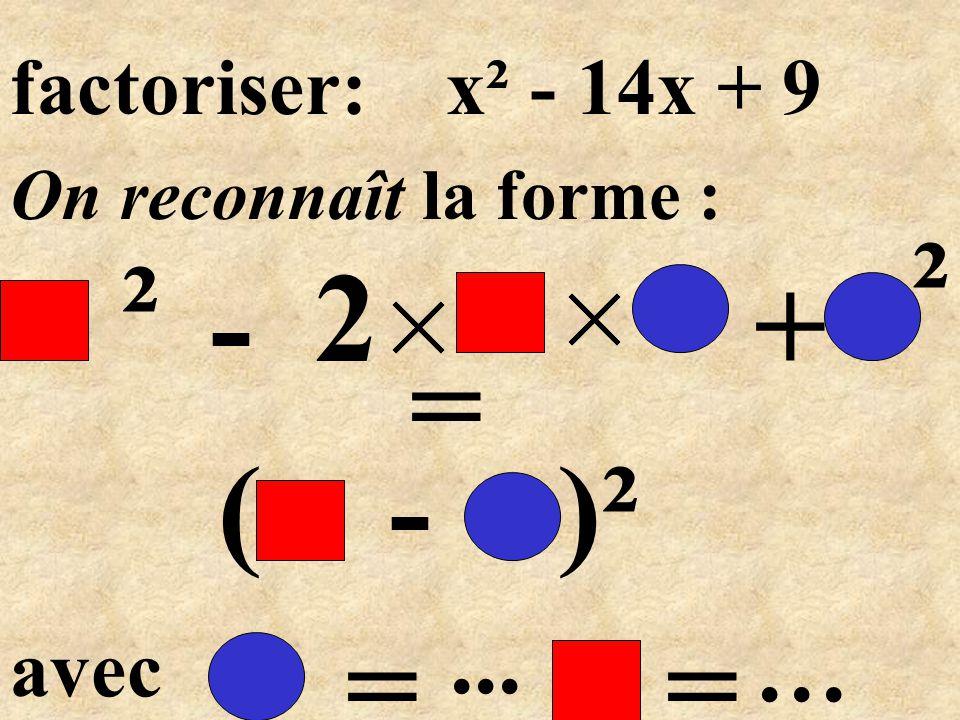 ( - )² = -2+ Donc: x² - 14x + 49 x7 ² x x 7 ² 7 =... x² - 14 x + 49