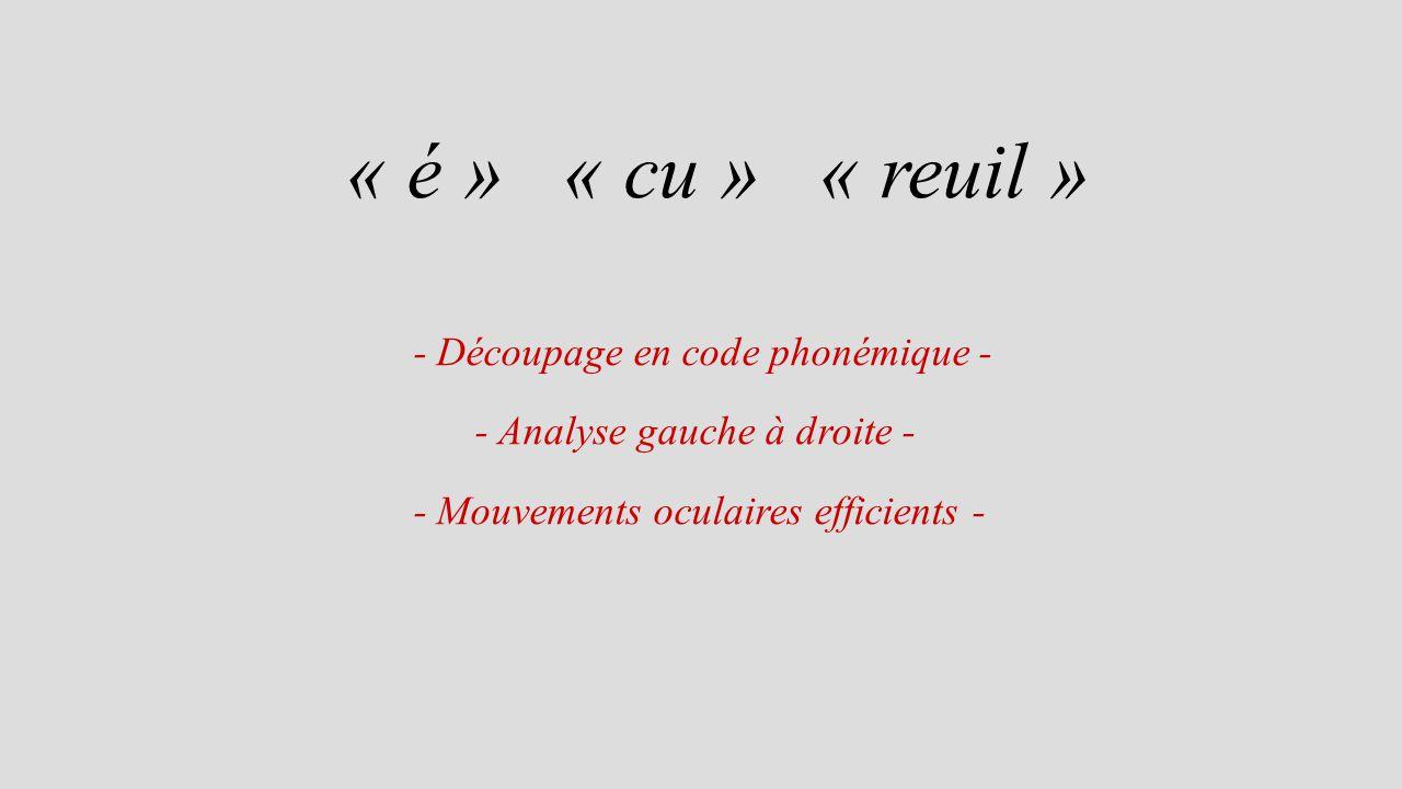 « é » « cu » « reuil » - Découpage en code phonémique - - Analyse gauche à droite - - Mouvements oculaires efficients -