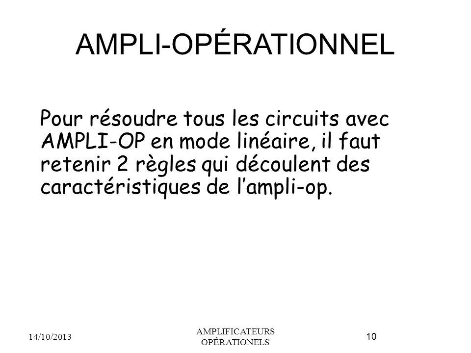 AMPLI-OPÉRATIONNEL Pour résoudre tous les circuits avec AMPLI-OP en mode linéaire, il faut retenir 2 règles qui découlent des caractéristiques de l'ampli-op.