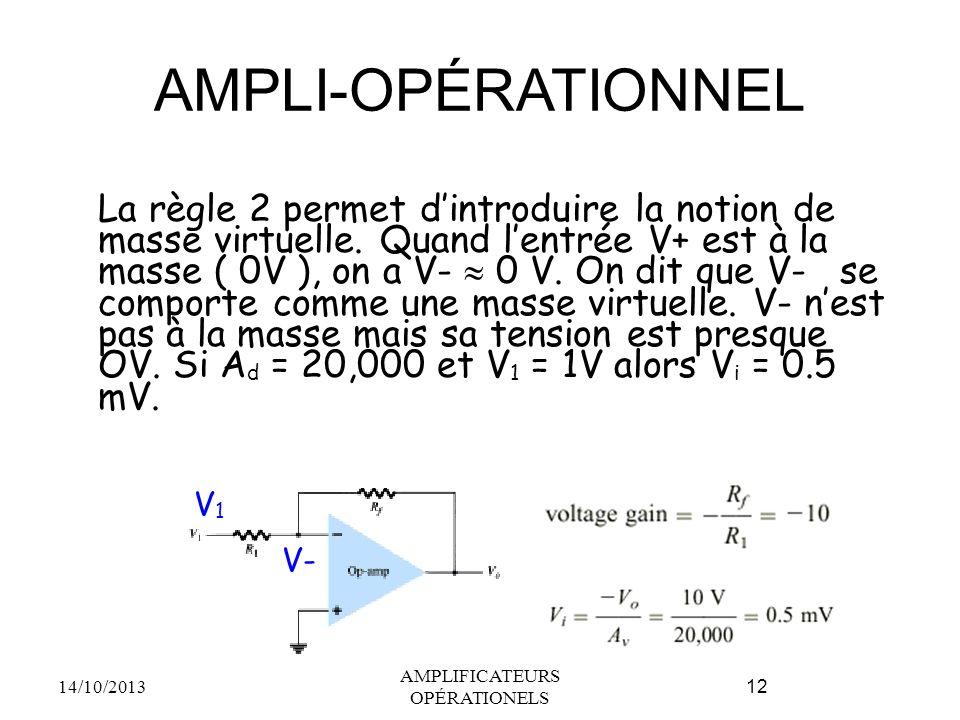 AMPLI-OPÉRATIONNEL La règle 2 permet d'introduire la notion de masse virtuelle. Quand l'entrée V+ est à la masse ( 0V ), on a V-  0 V. On dit que V-