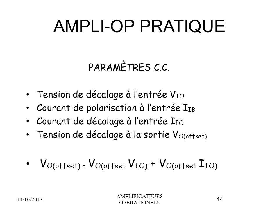 AMPLI-OP PRATIQUE PARAMÈTRES C.C. Tension de décalage à l'entrée V IO Courant de polarisation à l'entrée I IB Courant de décalage à l'entrée I IO Tens