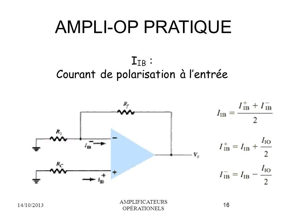 AMPLI-OP PRATIQUE 14/10/2013 AMPLIFICATEURS OPÉRATIONELS 16 I IB : Courant de polarisation à l'entrée