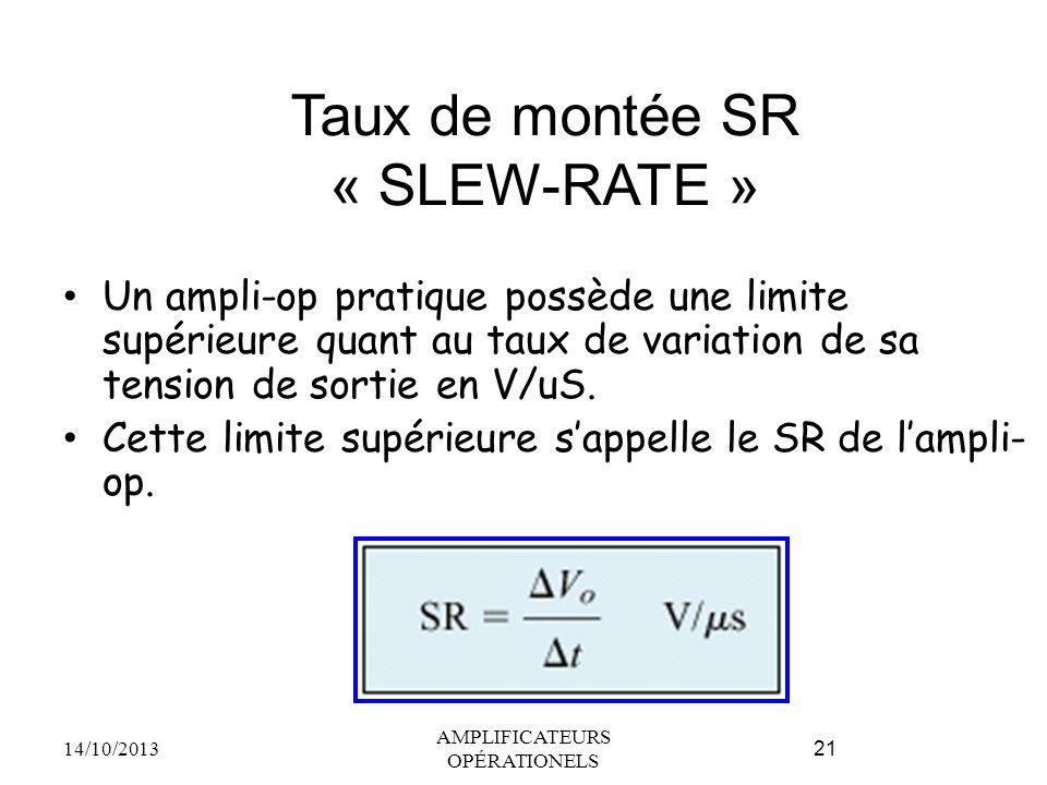 Taux de montée SR « SLEW-RATE » Un ampli-op pratique possède une limite supérieure quant au taux de variation de sa tension de sortie en V/uS. Cette l