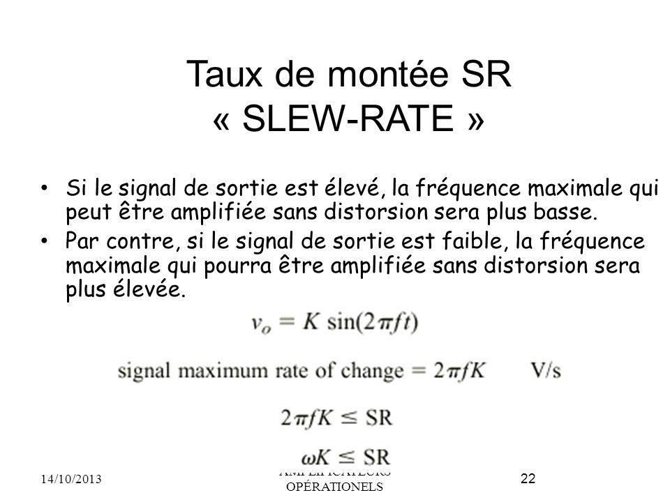 Taux de montée SR « SLEW-RATE » Si le signal de sortie est élevé, la fréquence maximale qui peut être amplifiée sans distorsion sera plus basse. Par c