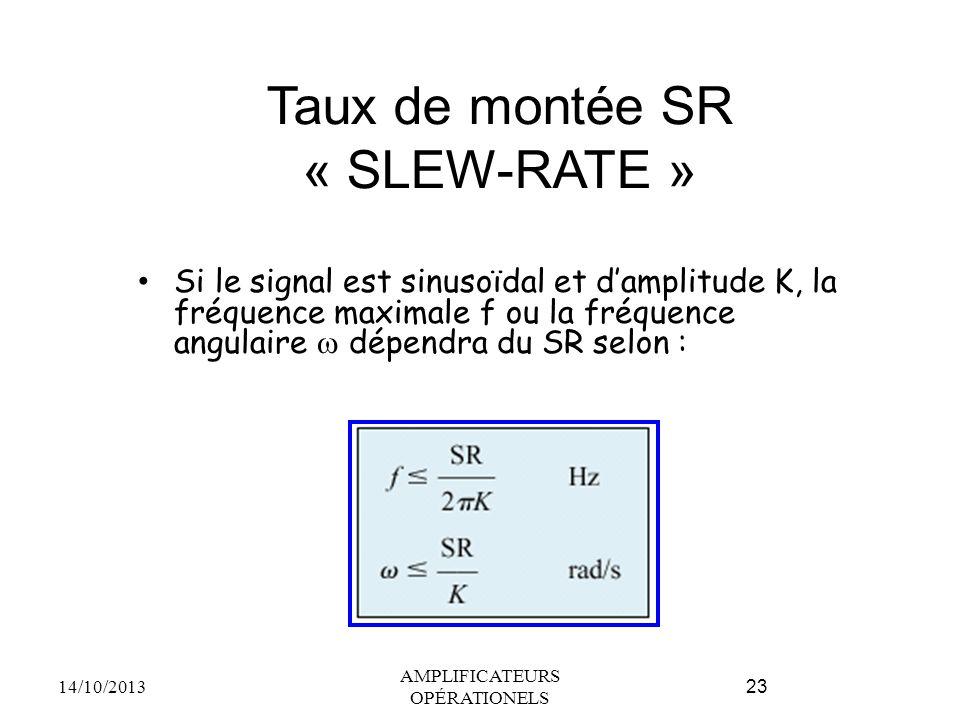 Taux de montée SR « SLEW-RATE » Si le signal est sinusoïdal et d'amplitude K, la fréquence maximale f ou la fréquence angulaire  dépendra du SR selon : 14/10/2013 AMPLIFICATEURS OPÉRATIONELS 23
