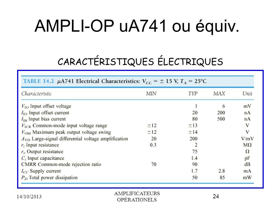 AMPLI-OP uA741 ou équiv. 14/10/2013 AMPLIFICATEURS OPÉRATIONELS 24 CARACTÉRISTIQUES ÉLECTRIQUES
