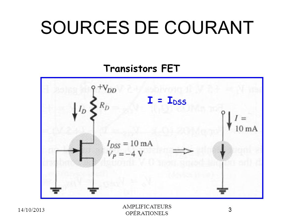 SOURCES DE COURANT 14/10/2013 AMPLIFICATEURS OPÉRATIONELS 3 Transistors FET I = I DSS