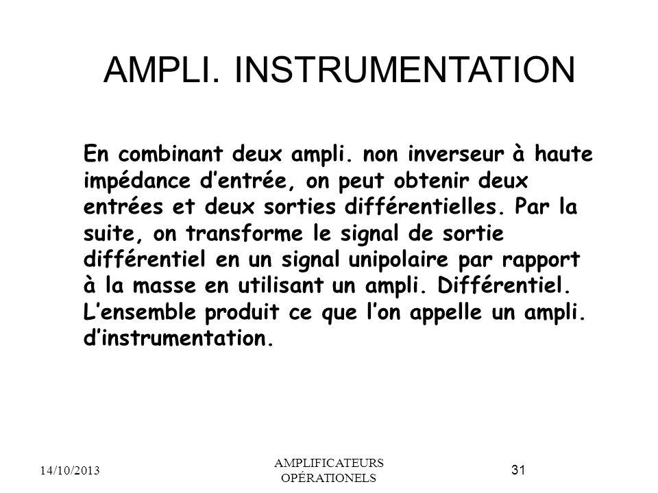 AMPLI. INSTRUMENTATION 14/10/2013 AMPLIFICATEURS OPÉRATIONELS 31 En combinant deux ampli. non inverseur à haute impédance d'entrée, on peut obtenir de