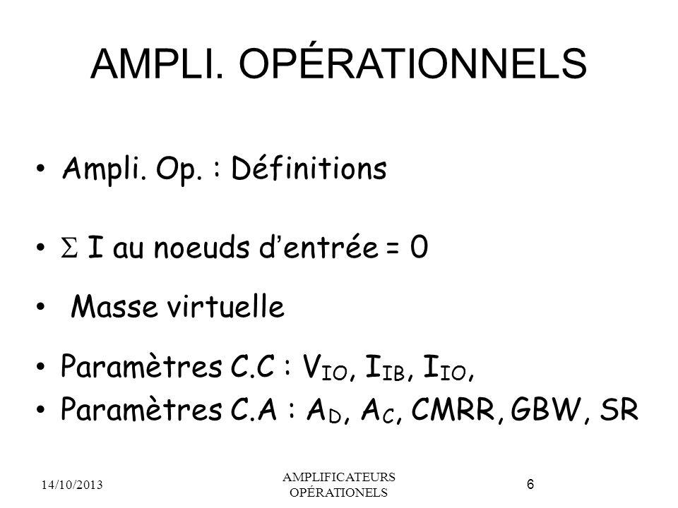 AMPLI. OPÉRATIONNELS Ampli. Op. : Définitions  I au noeuds d'entrée = 0 Masse virtuelle Paramètres C.C : V IO, I IB, I IO, Paramètres C.A : A D, A C,