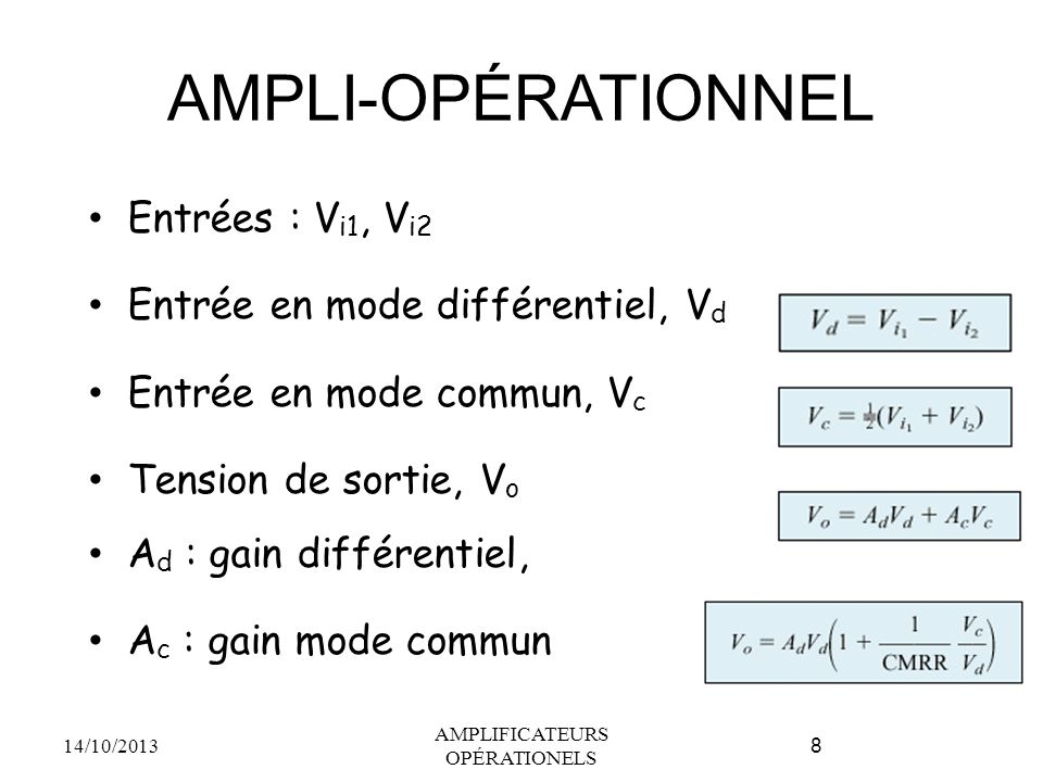 AMPLI-OPÉRATIONNEL Entrées : V i1, V i2 Entrée en mode différentiel, V d Entrée en mode commun, V c Tension de sortie, V o A d : gain différentiel, A c : gain mode commun 14/10/2013 AMPLIFICATEURS OPÉRATIONELS 8