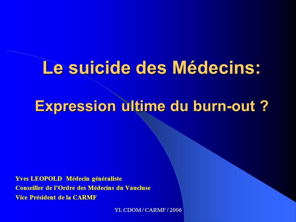 YL CDOM / CARMF / 2006 Le suicide des Médecins: Expression ultime du burn-out .
