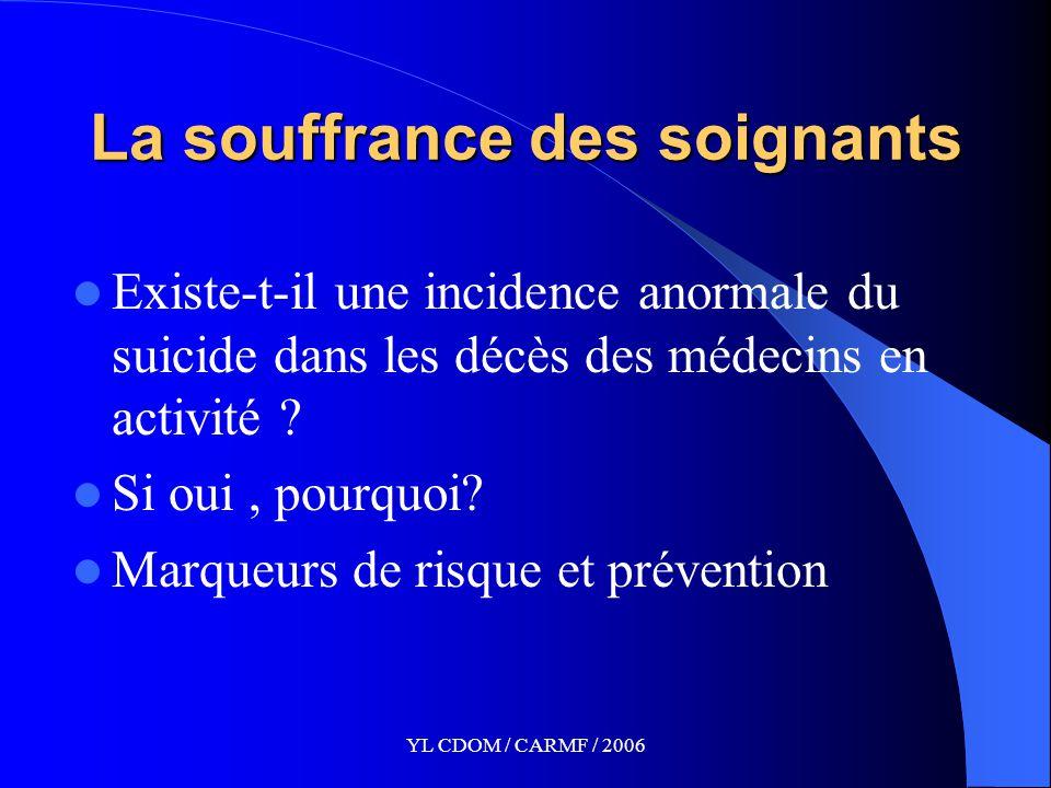 YL CDOM / CARMF / 2006 La souffrance des soignants Existe-t-il une incidence anormale du suicide dans les décès des médecins en activité .