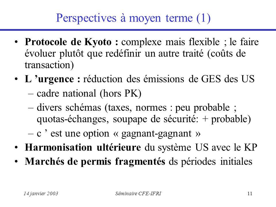 14 janvier 2003Séminaire CFE-IFRI11 Perspectives à moyen terme (1) Protocole de Kyoto : complexe mais flexible ; le faire évoluer plutôt que redéfinir un autre traité (coûts de transaction) L 'urgence : réduction des émissions de GES des US –cadre national (hors PK) –divers schémas (taxes, normes : peu probable ; quotas-échanges, soupape de sécurité: + probable) –c ' est une option « gagnant-gagnant » Harmonisation ultérieure du système US avec le KP Marchés de permis fragmentés ds périodes initiales