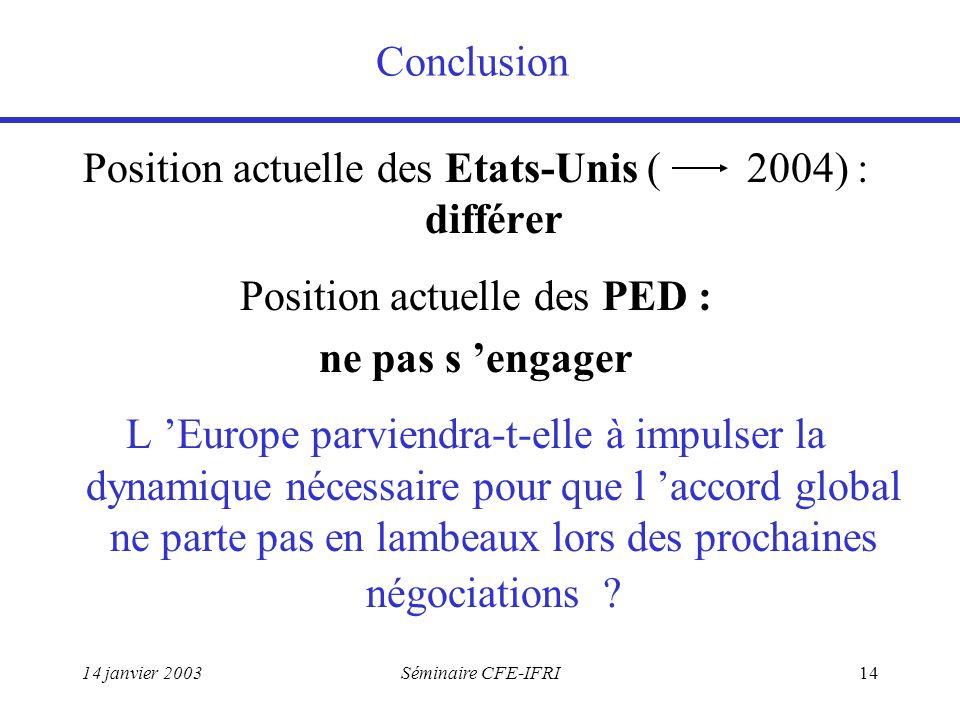 14 janvier 2003Séminaire CFE-IFRI14 Conclusion Position actuelle des Etats-Unis ( 2004) : différer Position actuelle des PED : ne pas s 'engager L 'Europe parviendra-t-elle à impulser la dynamique nécessaire pour que l 'accord global ne parte pas en lambeaux lors des prochaines négociations