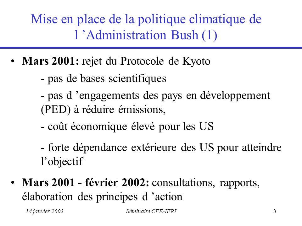 14 janvier 2003Séminaire CFE-IFRI3 Mise en place de la politique climatique de l 'Administration Bush (1) Mars 2001: rejet du Protocole de Kyoto - pas de bases scientifiques - pas d 'engagements des pays en développement (PED) à réduire émissions, - coût économique élevé pour les US - forte dépendance extérieure des US pour atteindre l'objectif Mars 2001 - février 2002: consultations, rapports, élaboration des principes d 'action