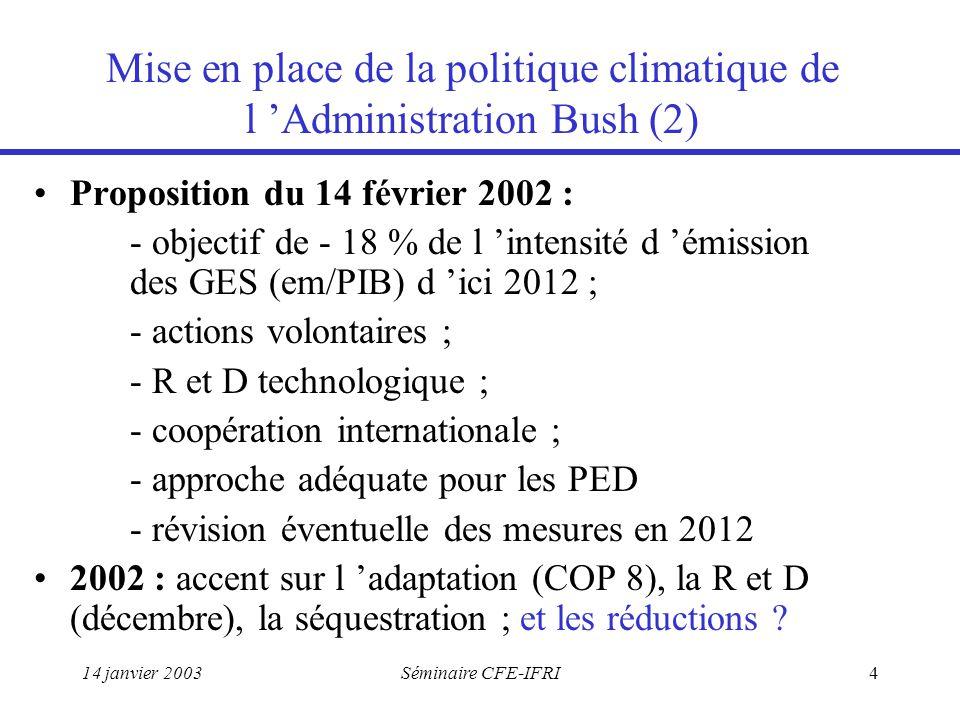 14 janvier 2003Séminaire CFE-IFRI4 Mise en place de la politique climatique de l 'Administration Bush (2) Proposition du 14 février 2002 : - objectif de - 18 % de l 'intensité d 'émission des GES (em/PIB) d 'ici 2012 ; - actions volontaires ; - R et D technologique ; - coopération internationale ; - approche adéquate pour les PED - révision éventuelle des mesures en 2012 2002 : accent sur l 'adaptation (COP 8), la R et D (décembre), la séquestration ; et les réductions