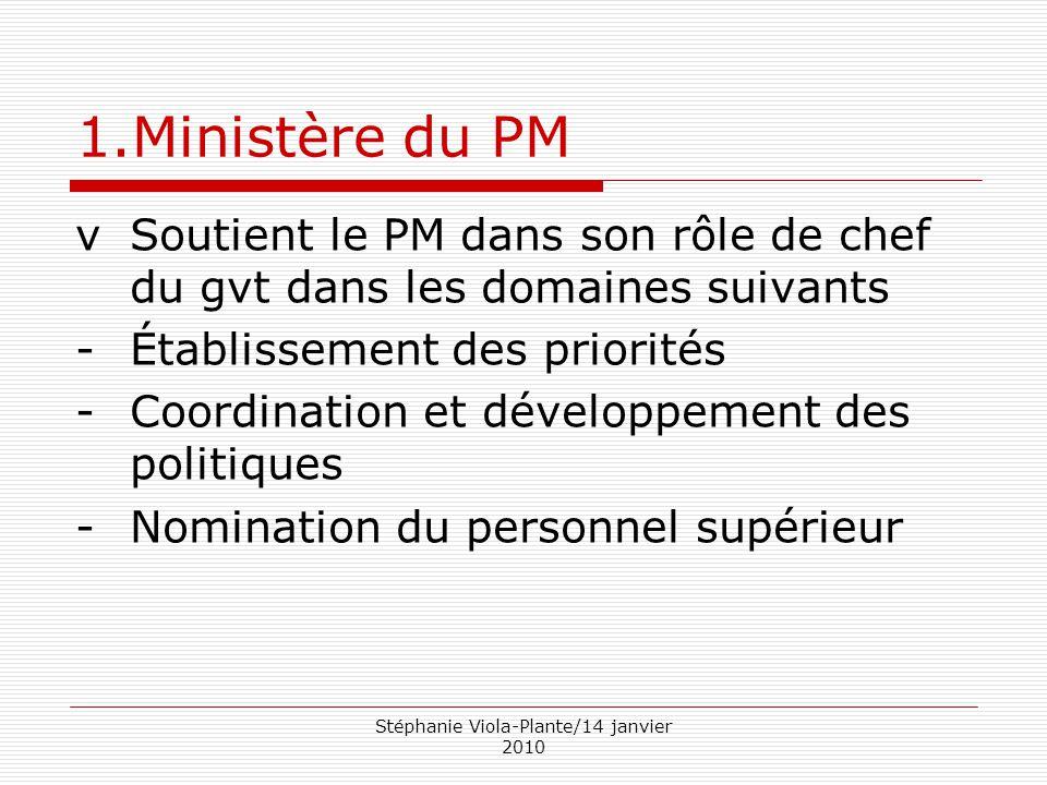 Stéphanie Viola-Plante/14 janvier 2010 1.Ministère du PM vSoutient le PM dans son rôle de chef du gvt dans les domaines suivants -Établissement des pr
