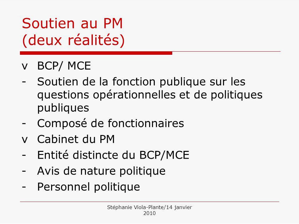 Stéphanie Viola-Plante/14 janvier 2010 Soutien au PM (deux réalités) vBCP/ MCE -Soutien de la fonction publique sur les questions opérationnelles et d