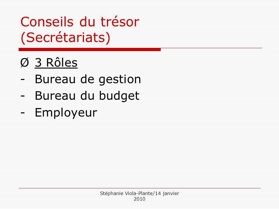 Stéphanie Viola-Plante/14 janvier 2010 Conseils du trésor (Secrétariats) Ø3 Rôles -Bureau de gestion -Bureau du budget -Employeur