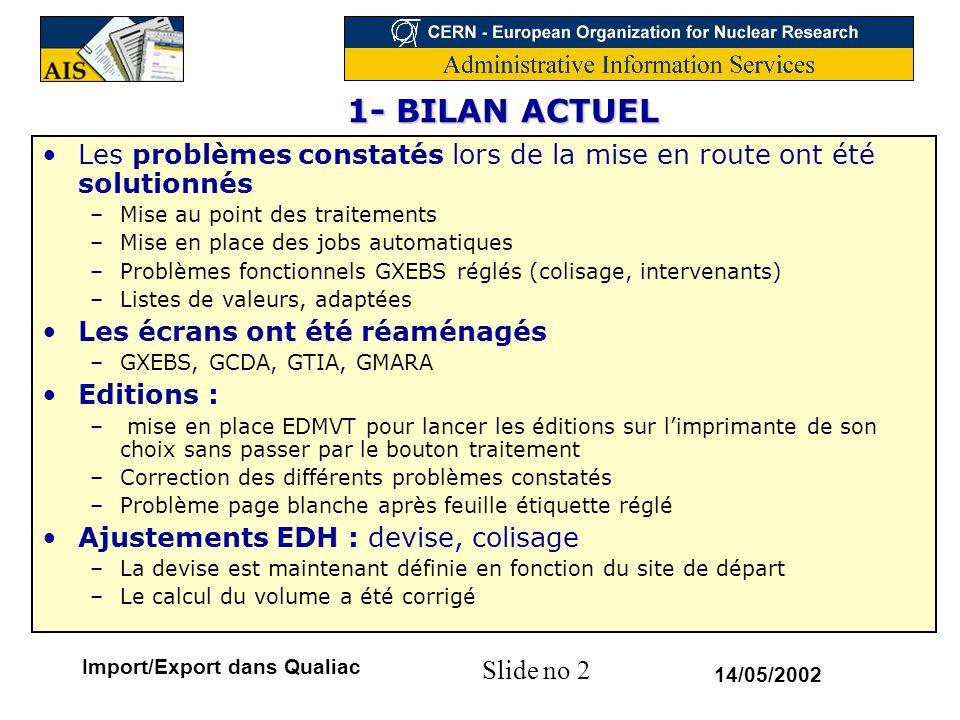Slide no 2 14/05/2002 Import/Export dans Qualiac 1- BILAN ACTUEL 1- BILAN ACTUEL Les problèmes constatés lors de la mise en route ont été solutionnés
